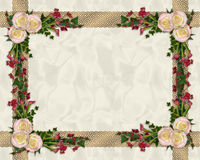 Pink roses exotic floral border Royalty Free Stock Images