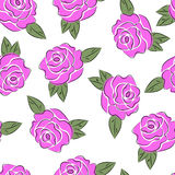 Pink roses. Floral seamless pattern with pink roses vector illustration