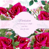 Pink Roses flower Invitation card Vector. Delicate floral realistic illustrations. Pink Roses flower Invitation card Vector. Delicate floral realistic Royalty Free Stock Photography