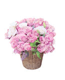 Pink roses flowers bouquet arrangement in bamboo b Royalty Free Stock Image
