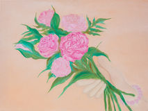 Pink roses flowers in hand on pink background illustration oil painting. Stock Photography