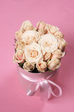 Pink roses in gift box Stock Images