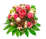 Pink roses with golden christmas decoration Royalty Free Stock Image