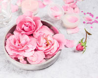 Pink roses in gray ceramic bowl of water on gray marble table. Cream in jar and candle royalty free stock images