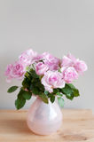 Pink roses on gray wall Royalty Free Stock Images