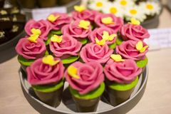 Pink roses hand made from sweets. Macro Royalty Free Stock Images