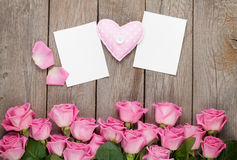 Pink roses, handmaded toy heart and valentines day blank greetin Stock Photos