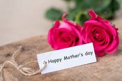 Pink roses with Happy Mother`s day tag card. Close up of beautiful pink roses with Happy Mother`s day tag card Stock Photos