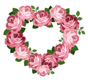 Pink roses heart frame. Royalty Free Stock Photo