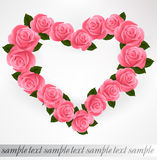 Pink roses Heart shape. Vector Stock Images