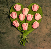 Pink roses in a heart shape Royalty Free Stock Photo
