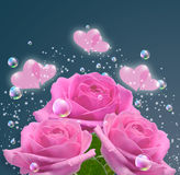Pink roses and hearts Stock Photos