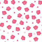 Pink roses and hearts scattering seamless vector pattern Royalty Free Stock Photography