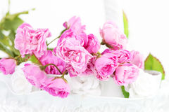 Pink Roses In Basket Stock Images