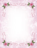 Pink roses Invitation border Stock Photography
