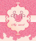 Pink roses invitation vintage style frame. Vector illustration Royalty Free Stock Images