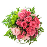 Pink roses isolated on white. Festive flowers arrangement Stock Photography