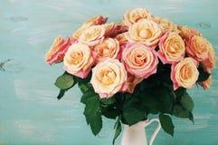 Pink roses in jug Royalty Free Stock Photos