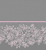 Pink roses lace horizontal Seamless Pattern. Royalty Free Stock Photography