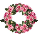 Pink Roses with Leaves Flower Cirlce Arrangement Isolated on White. Beautiful pink and white rose wreath with leaves arranged and isolated over a white stock photography