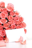 Pink roses with note paper Stock Photography