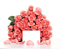Pink roses with note paper Royalty Free Stock Photography
