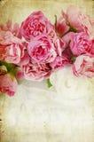 Pink Roses On Grunge Background Stock Photo