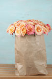 Pink roses in paper bag Royalty Free Stock Photos