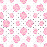 Pink roses pattern on polka dots background. Floral seamless pattern. Fashion design for fabric and decor. Vector decorative illustration Royalty Free Stock Photos