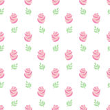 Pink roses pattern. Seamless wallpaper pink roses with leaves on white background. Stock Images