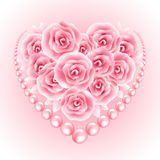 Pink roses, pearl and heart shap frame. Vector illustration Stock Photography