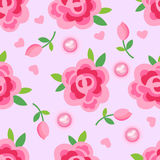Pink roses & pearls seamless background Stock Photos