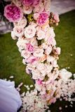 Pink roses and peonies wedding arch Royalty Free Stock Photography