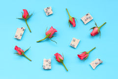 Pink roses and pieces of white chocolate with dried berries Royalty Free Stock Photos