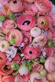 Pink roses and ranunculus bridal bouquet Stock Photo