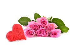 Pink roses and red heart Royalty Free Stock Photo
