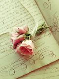 Pink roses with ribbon on old handwriting Stock Photos