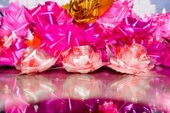 Pink roses set made of silk ribbon Stock Photos