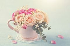 Pink roses in a teacup. On a pastel blue background royalty free stock photos