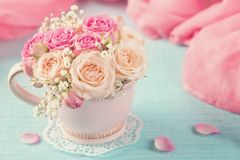 Pink roses in a teacup. On a blue background stock images