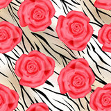 Pink roses on tiger wild skin leather seamless pattern Royalty Free Stock Photos