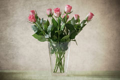 Pink roses in vase. With old paper texture Royalty Free Stock Photos