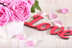 Pink roses in a vase Stock Photos