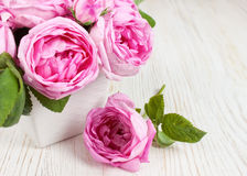 Pink roses in a vase. On white wooden desk Stock Photos
