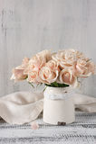 Pink roses in vintage vase Royalty Free Stock Images