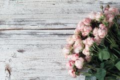 Pink bush roses on vintage wooden background with copy space for text. Wedding floral frame Royalty Free Stock Photography