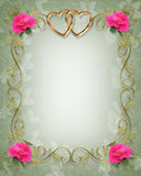 Pink Roses Wedding Border Stock Images