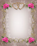 Pink Roses Wedding Border stock illustration