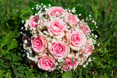 Pink roses wedding bouquet Stock Photography
