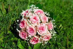 Pink roses wedding bouquet Royalty Free Stock Photo